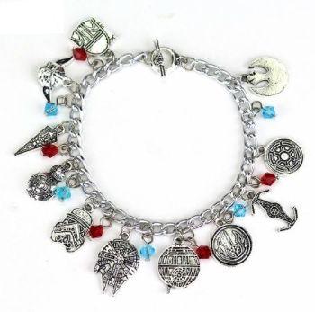 Star Wars, Jedi, Yoda, Rebel Alliance, Stormtrooper, Boba Fett, BB8, Millennium Falcon, Inspired Style Charm Bracelet