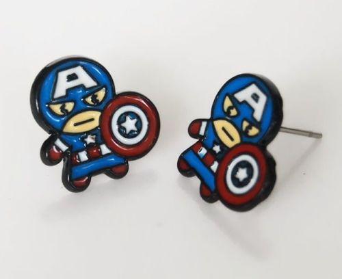 Captain America, Avengers, Marvel Superhero Earring Studs