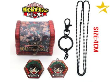 My Hero Academia, Izuku Midoriya Anime Pendant, Keyring and Pin Jewellery Set