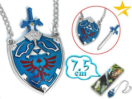 The Legend of Zelda, Hylian Shield, Master Sword Zelda Game Pendant Necklac