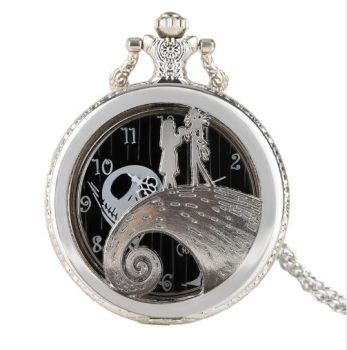 Nightmare Before Christmas, Jack Skellington, Jack & Sally Pendant Pocket Watch
