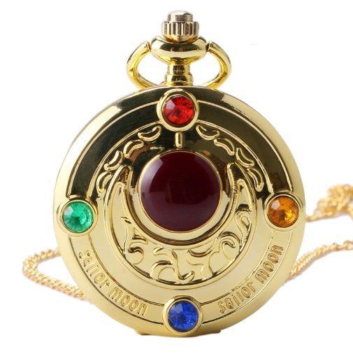 Sailor Moon Anime Gold Pendant Pocket Watch