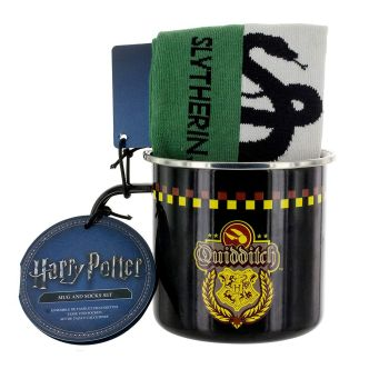 Slytherin Quidditch Tin Mug and Sock Set