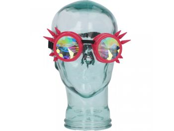 Cyber Pink Faceted Steampunk Goggles