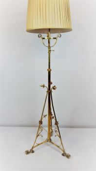 Arts & Crafts brass and copper floor lamp