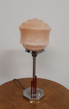 Art Deco lamp with red appliques
