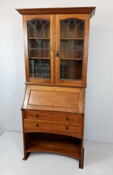 Arts & Crafts oak bureau bookcase