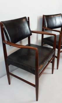 Mid-century teak & leather chairs