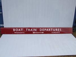 boat train departures enamel sign