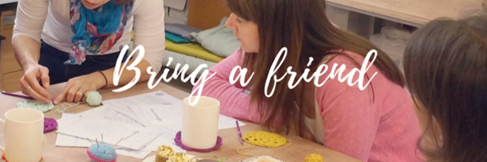 kitty clarke crochet lesson - bring a friend banner
