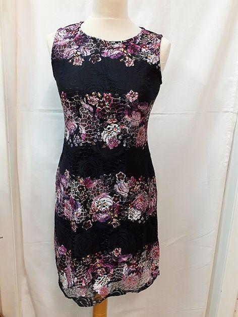 Apricot black & floral lace shift dress