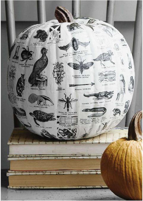 Autumn 2015 Deco: textbook-decoupage-pumpkin