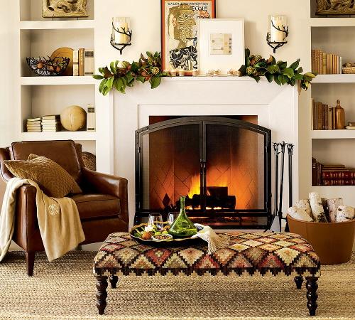 Autumn 2015 Room: fall-mantel-layered-art-magnolia-garland