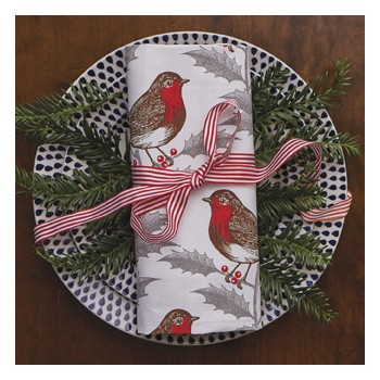Christmas 15: 16 -2 robin-holly-napkin-single