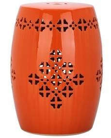 Summer 15: Orange Safavieh-Quatrefoil-Orange-Garden-Stool-a136ad0b-6cfe-408