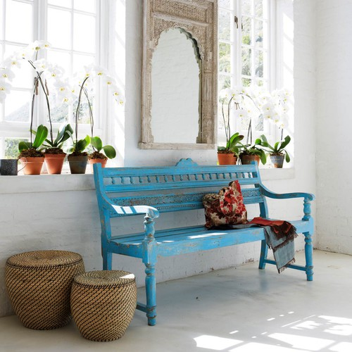 Summer 17: 19 2-seater-distressed-mango-wood-garden-bench-seat-in-blue-b