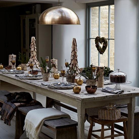 Christmas 17: 85 rustikale-tischdeko-weihnachten-holz-gold-ideen