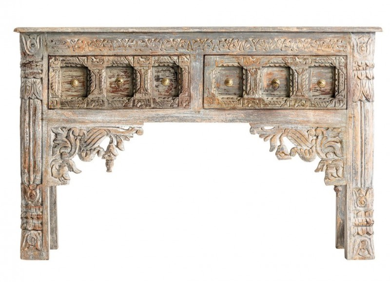 Summer 18: 46 console-orientale-bois-de-mangue-marron-antique-indal-19