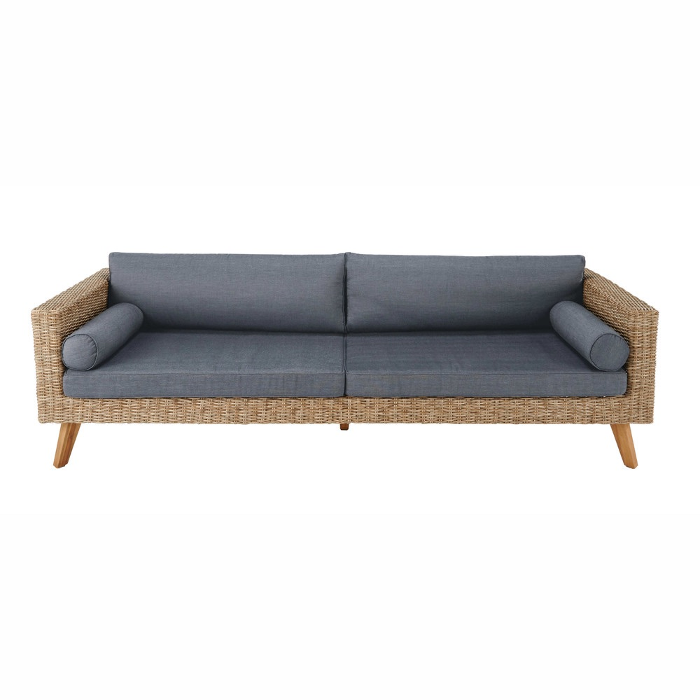 Summer 18: 54 3-4-seater-wicker-and-canvas-garden-sofa-in-charcoal-grey-