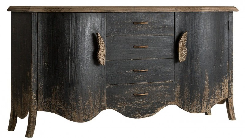 christmas 18: 75 buffet-4-tiroirs-2-portes-pin-massif-noir-et-naturel-use