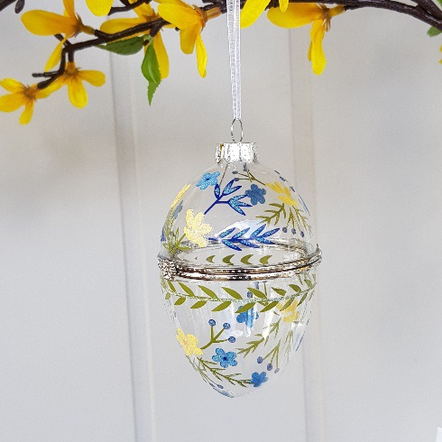 Easter 19: 38 gisela-graham-easter-decoration-blue-yellow-glass-fillable-