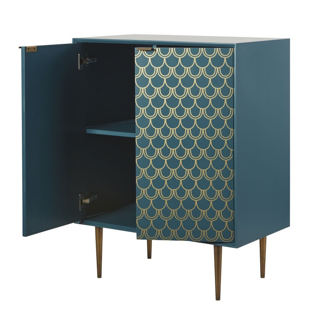 Easter 19: 59 turquoise-blue-2-door-sideboard-with-gold-graphic-print-10