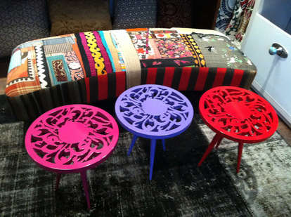 Dina Gildeh 3 multi coloured tables