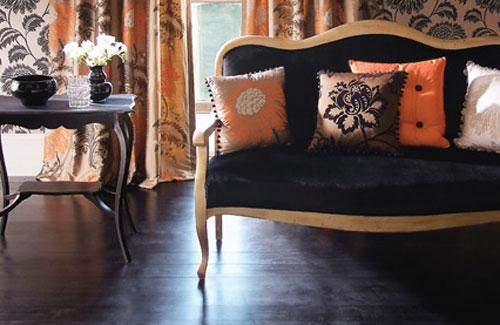 Halloween: Room 5 orange-gold-and-black-living-room