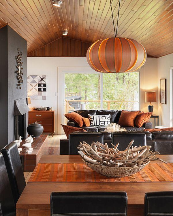Halloween: Room 13 orange-living-room-with-black