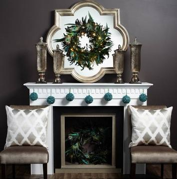 xm- grey background Elegant-White-Fireplace-with-Awesome-Peacock-Feather-De