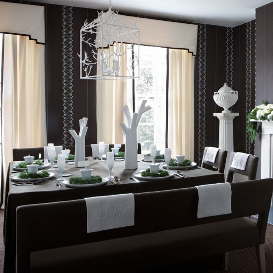 Happy Christmas 1: Dark-grey-and-white-festive-dining-room-Homes--Gardens-H