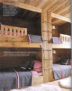 Chalet Interior 14: Bunk Bedroom chalet chic bunk beds elle deco 001