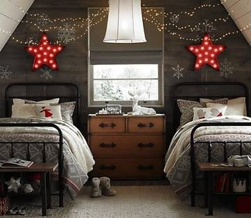 Chalet Interiors 14: Bedroom neutral-colored-Christmas-bedroom