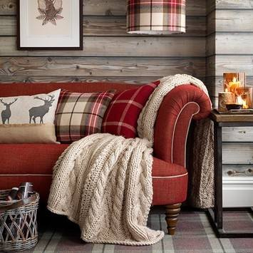 Chalet Interior 14: Red-sofa-in-highland-style-living-room--Country-Homes-a