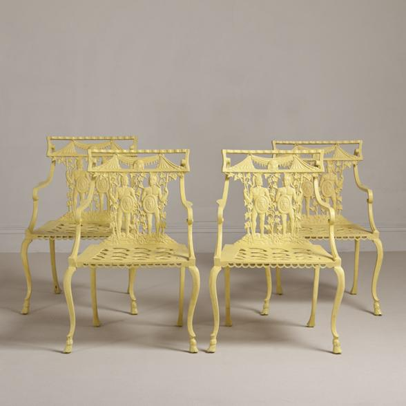 Easter 14: Yellow Cast Iron Chairs A-Set-of-Four-Neoclassical-Inspired-Cast