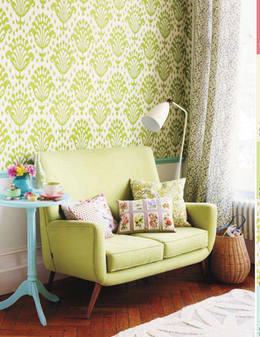Easter 14 Room: Bright Green Wallpaper and sofa