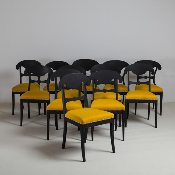 Spring 14: A-Set-of-Sixteen-Ebonised-Swedish-Empire-Dining-Chairs-circa-182