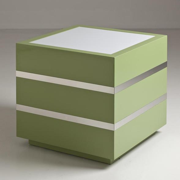 Spring 14 1: An-Apple-Green-Lacquer-and-Polished-Steel-Light-Box-1970s-8779