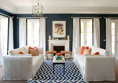 Summer 14 Room: blue-white-orange-living-room
