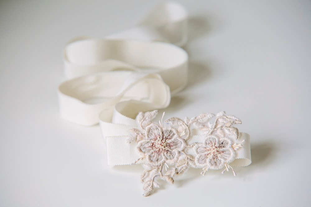 Beautiful embroidered floral bridal sash