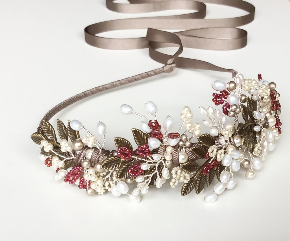 Autumn leaves and berry headdress in Antique Bronze, Silver and Red