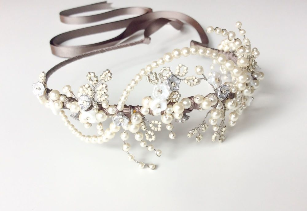 Winter Rose Headdress in Silver
