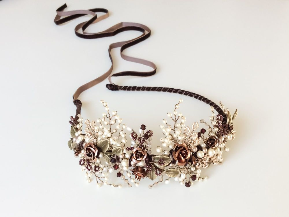 Autumn rose garnet headdress
