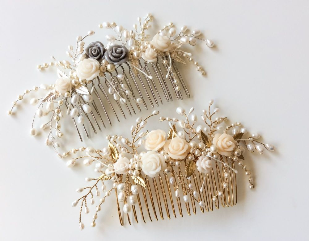 Tiny rose and leaf combs gold and silver
