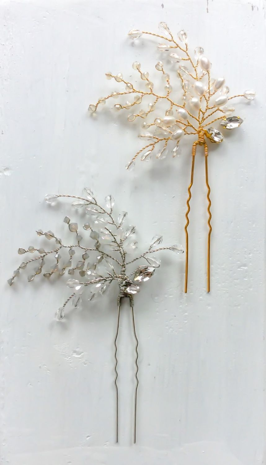 Fern jewelled hairpins in silver and gold