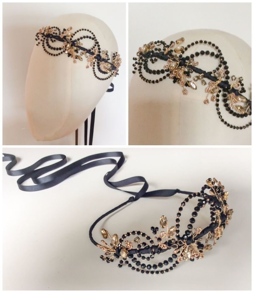 Gatsby Deco Headdress in Black and Gold