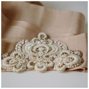 Champagne Hand Embroidered Silk Sash