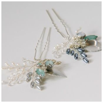 ANTIQUE SILVER AND GREEN | Silver Leaf  Wedding Hair Pins