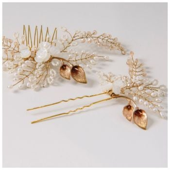 Lily and Rose Hair Comb and Pin Set