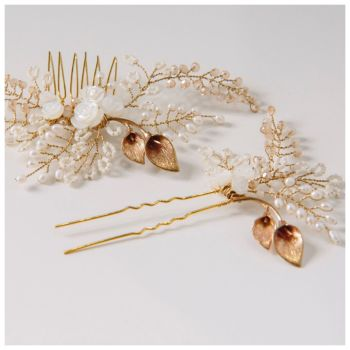 Rose and Lily Hair Comb and Pin Set